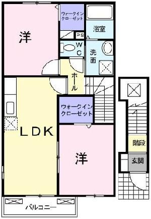 プレッソグリーンレイクII 201号室の間取り図