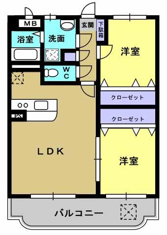サワーオレンジ 303号室の間取り図