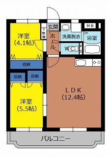 インフィニティ 302号室の間取り図